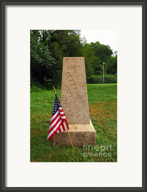 First Shot Monument Gettysburg Framed Print By James Brunker
