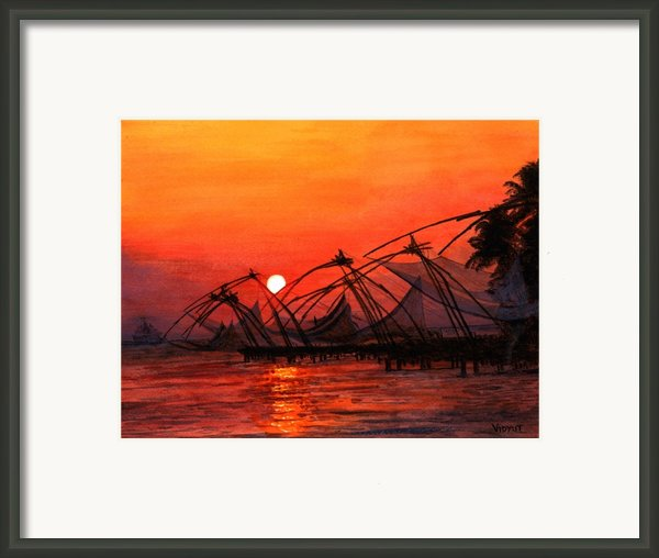 Fisherman Sunset In Kerala-india Framed Print By Vidyut Singhal