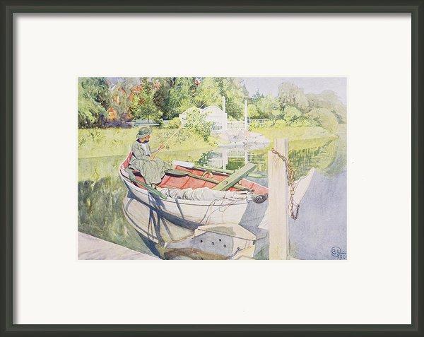 Fishing Framed Print By Carl Larsson