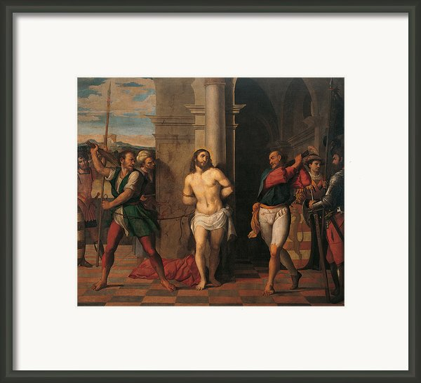 Flagellation Of Christ , By Jacopo Framed Print By Palma Il Giovane