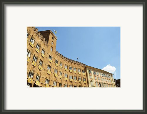 Flags On Building On Piazza Del Campo Framed Print By Sami Sarkis