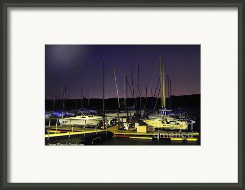 Flashlighting Technique Twilight Marina Docked Sailboats  Framed Print By Pamela Smale Williams