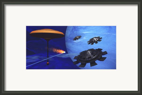 Floating Space City Framed Print By Corey Ford