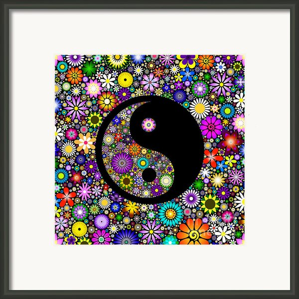 Floral Yin Yang Framed Print By Tim Gainey