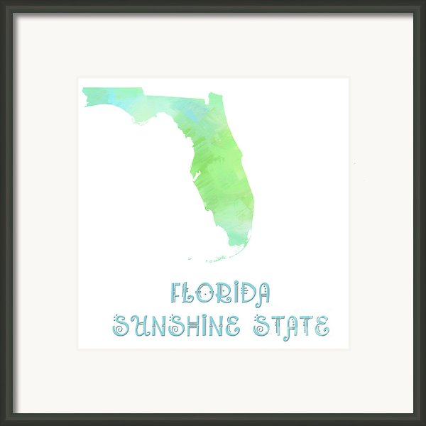 Florida - Sunshine State - Map - State Phrase - Geology Framed Print By Andee Photography