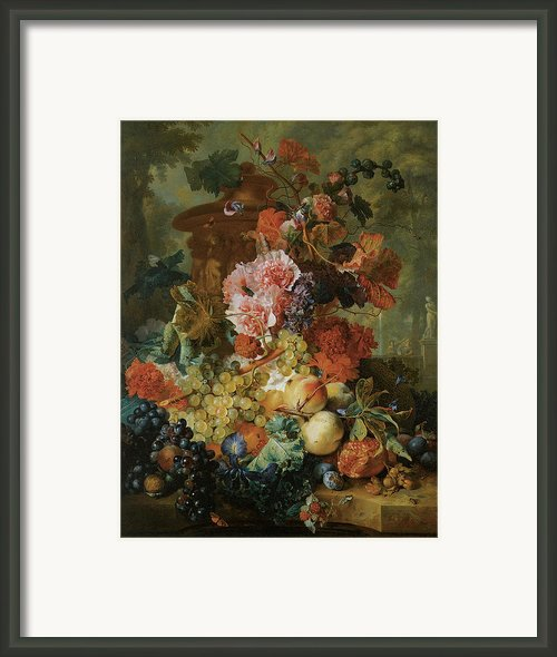 Flower And Fruit Piece Framed Print By Jan Van Huysum