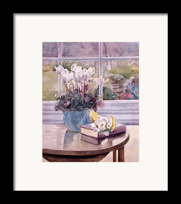 Flowers And Book On Table Framed Print By Julia Rowntree