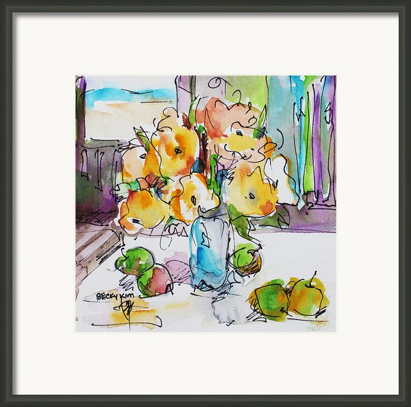 Flowers And Green Apples Framed Print By Becky Kim