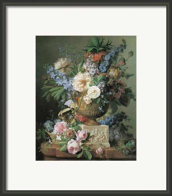 Flowers In An Alabaster Vase Framed Print By Gerard Van Spaendonck