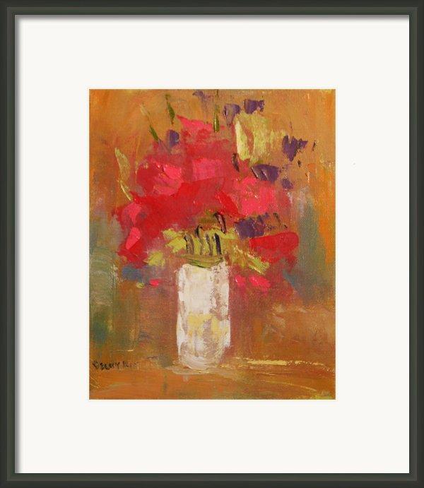 Flowers In White Vase Framed Print By Becky Kim