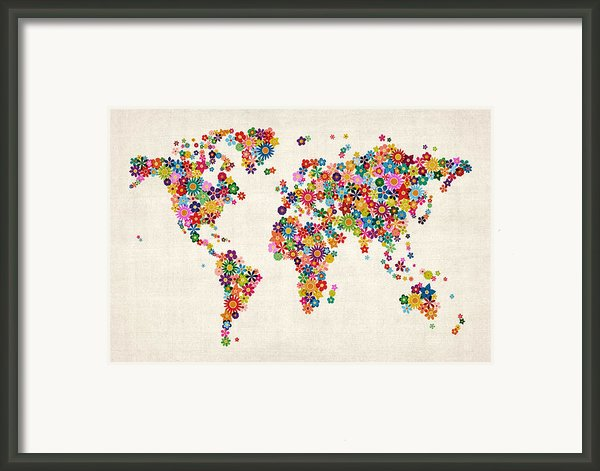 Flowers Map Of The World Map Framed Print By Michael Tompsett