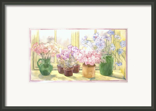 Flowers On The Windowsill Framed Print By Julia Rowntree