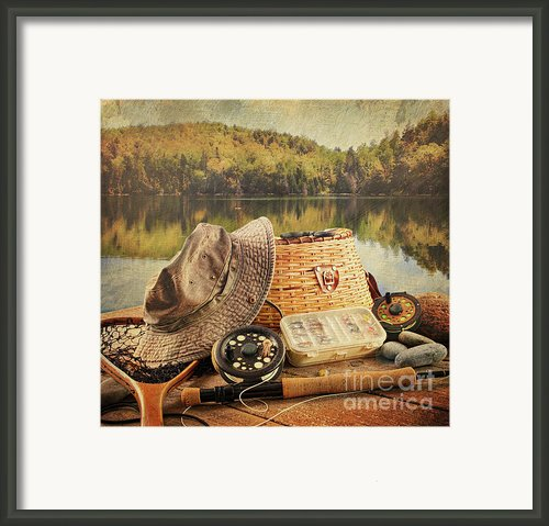 Fly Fishing Equipment  With Vintage Look Framed Print By Sandra Cunningham