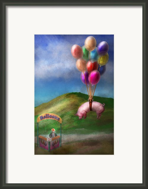 Flying Pig - Child - How I Wish I Were A Bird Framed Print By Mike Savad