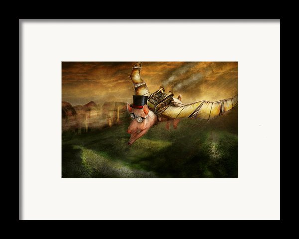 Flying Pig - Steampunk - The Flying Swine Framed Print By Mike Savad
