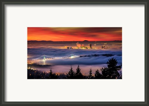 Fog Inversion Over Vancouver Framed Print By Alexis Birkill