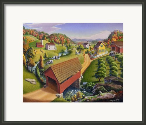 Folk Art Covered Bridge Appalachian Farm Country Landscape Painting Americana Framed Print By Walt Curlee