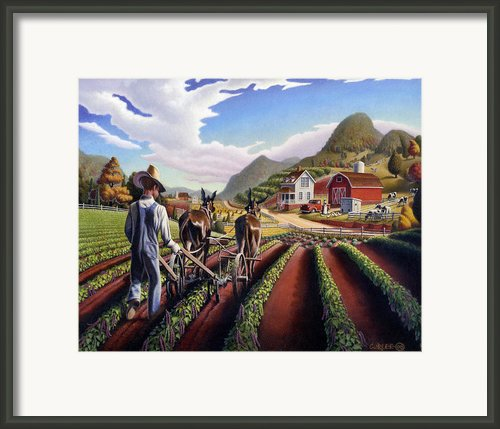 Folk Art Farm Landscape Cultivating Peas Fairy Tale Scene Americana Country Life Fantasy American Framed Print By Walt Curlee