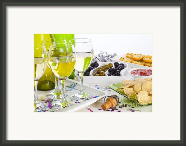 Food And Wine On A Buffet Table Framed Print By Colin And Linda Mckie