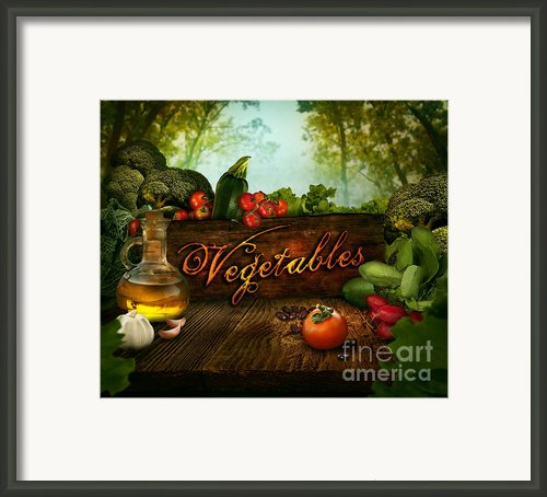 Food Design - Fresh Vegetables In Celery Forest Framed Print By Mythja  Photography