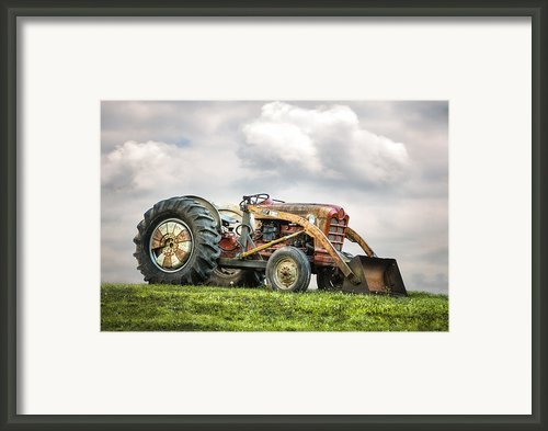 Ford Powermaster Tractor On A Hill Framed Print By Gary Heller