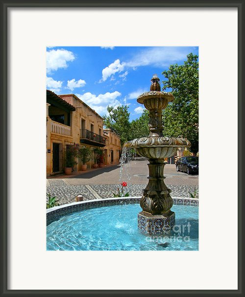 Fountain At Tlaquepaque Arts And Crafts Village Sedona Arizona Framed Print By Amy Cicconi