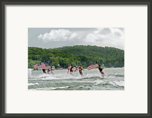 Fourth Of July Water Skiers Framed Print By Susan Leggett