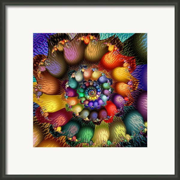 Fractal Textured Spiral Framed Print By Peggi Wolfe