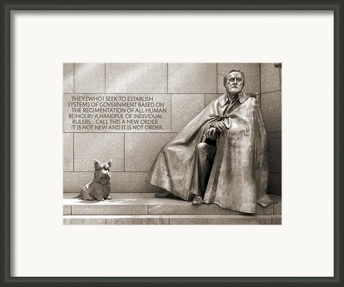 Franklin Delano Roosevelt Memorial - Bits And Pieces 7 Framed Print By Mike Mcglothlen