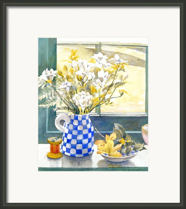 Freesias And Chequered Jug Framed Print By Julia Rowntree