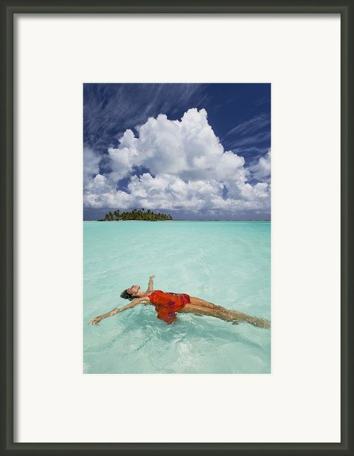 French Polynesia Woman Floating Framed Print By M Swiet Productions
