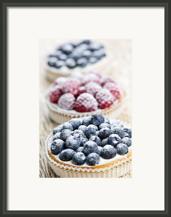 Fresh Berry Tarts Framed Print By Elena Elisseeva