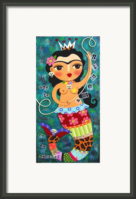 Frida Kahlo Mermaid Queen Framed Print By Lulu Mypinkturtle