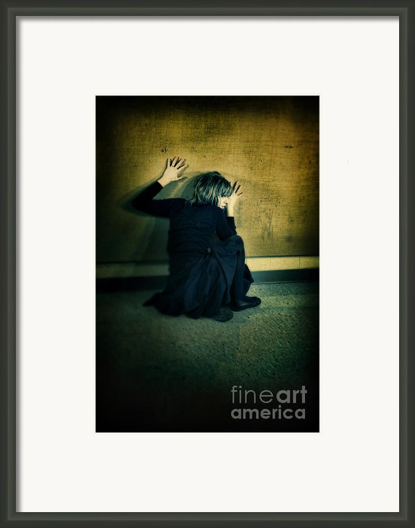Frightened Woman Framed Print By Jill Battaglia