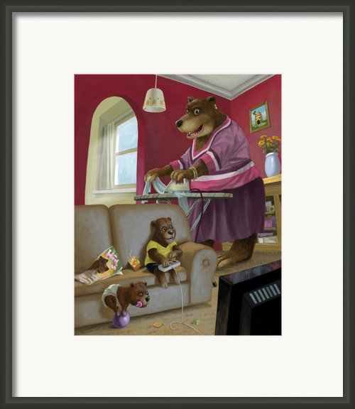 Front Room Bear Family Son Playing Computer Game Framed Print By Martin Davey