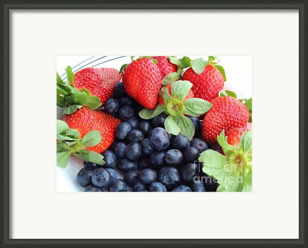 Fruit 2- Strawberries - Blueberries Framed Print By Barbara Griffin