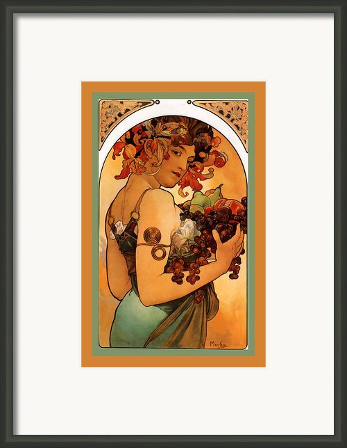 Fruit Framed Print By Alphonse Maria Mucha