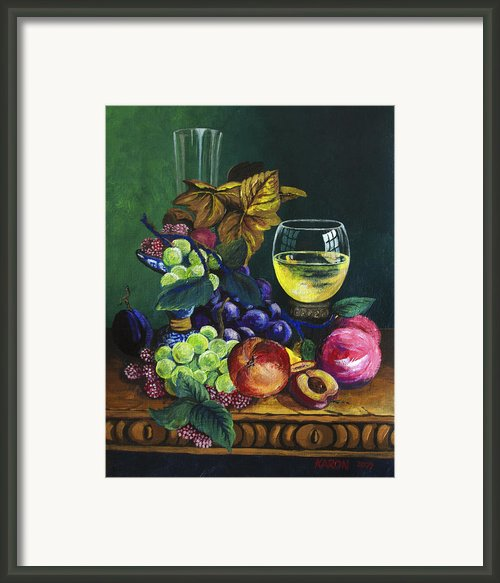Fruit And Wine Framed Print By Karon Melillo Devega