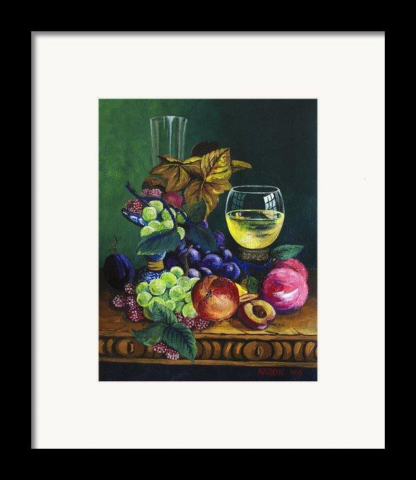 Fruit And Wine Framed Print By Karon Melillo Devega