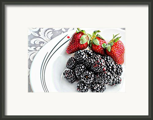 Fruit I - Strawberries - Blackberries Framed Print By Barbara Griffin