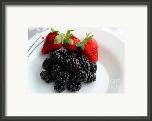 Fruit Iii - Strawberries - Blackberries Framed Print By Barbara Griffin