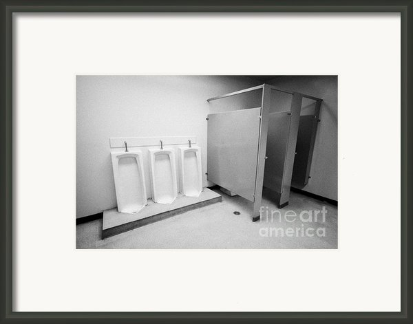 Full Length Urinals And Cubicles In Mens Toilet Of High School Canada North America Framed Print By Joe Fox