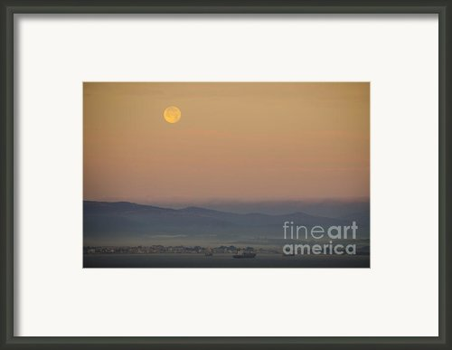 Full Moon At Sunrise Over Spanish Coast Framed Print By Deborah Smolinske