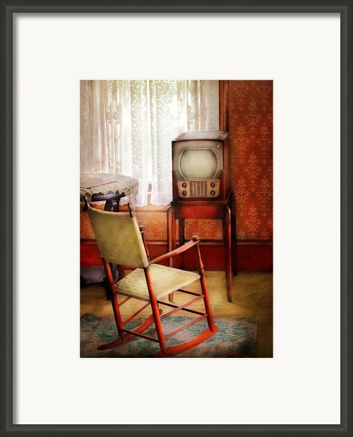Furniture - Chair - The Invention Of Television  Framed Print By Mike Savad