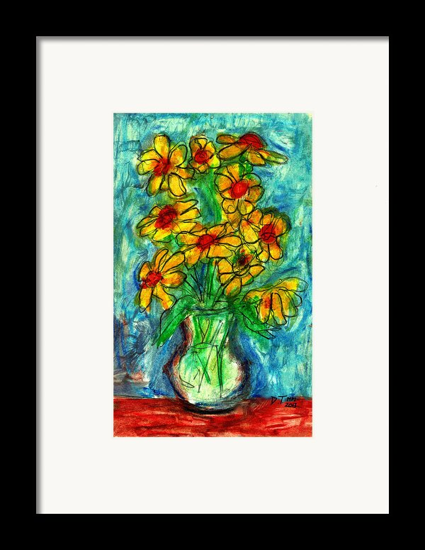 Garden Flower Mono-print Framed Print By Don Thibodeaux