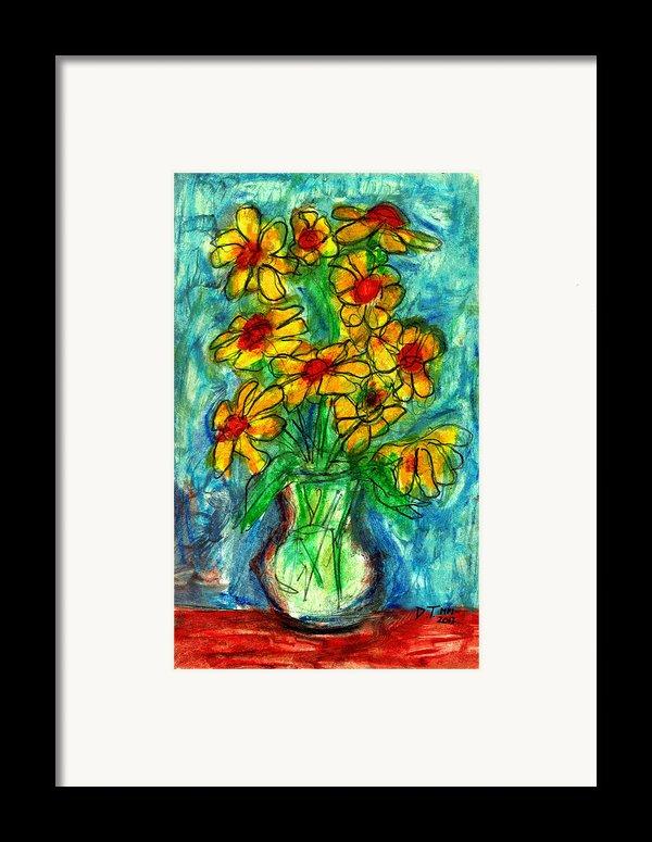 Garden Flower Mono-print Framed Print By Don Thibodeaux