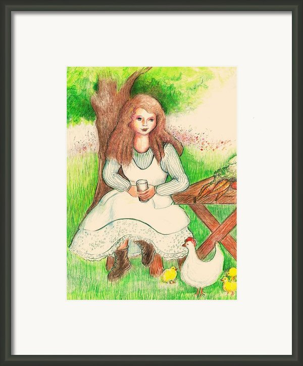Garden Girl Taking A Break Framed Print By Barbara Lemaster