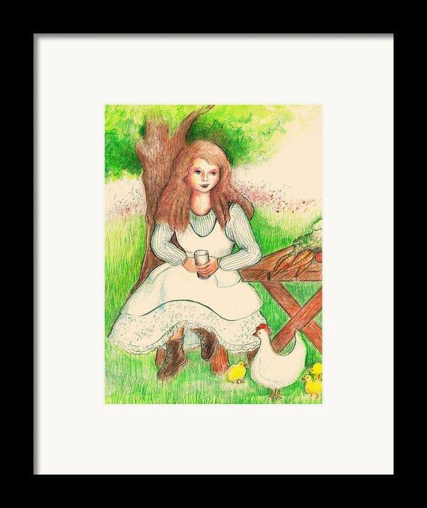 Garden Girl Taking A Break Framed Print By Barbara Lemaster