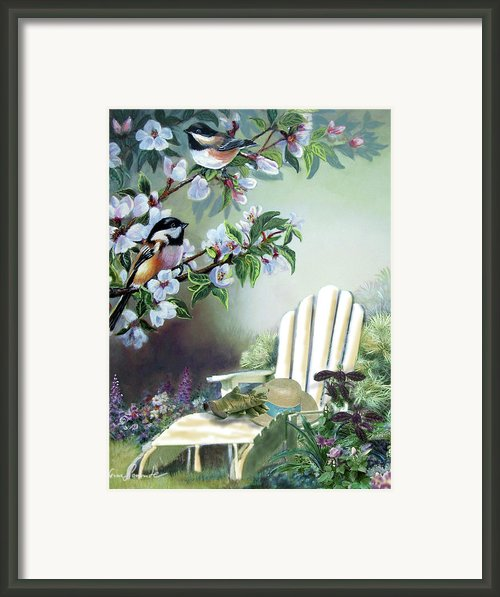 Garden Scene Chickadees In Blossum Tree Framed Print By Gina Femrite