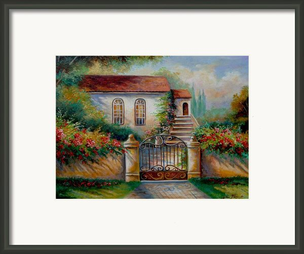 Garden Scene With Villa And Gate Framed Print By Gina Femrite